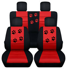 Front+Back CAR SEAT COVERS black-red w/Paw Prints Fits COMPASS PATRIOT 2010-2018