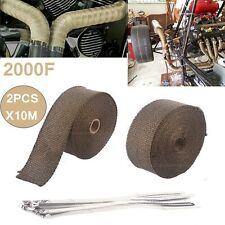 TITANIUM 2000F HEAT WRAP 20M X 50MM ROLLS + 20 STAINLESS EXHAUST INSULATING TIES