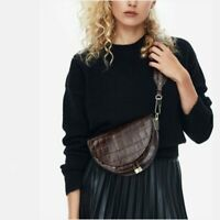 Fashion Women Crossbody Bag Crocodile Saddle Bags  Leather Shoulder Shell Bags