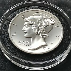 Mercury Dime Winged Liberty Tribute 2 oz .999 Silver .39mm Large Coin Art Medal