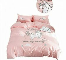 Cute Pink Bed Sheets And Pillowcases Embroidery Bedding Sets Duvet Cover Unicorn