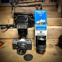 Vintage Praktica MTL 3 35mm SLR Film Camera,  Full Kit, Flash, Lenses, Lomo