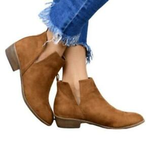 Women Ankle Boots Low Block Heels Chelsea Round Toe Cowboy Shoes Casual 35/43 D