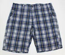 DAVID SMITH Size 40 / 102 Shorts Men's Blue Check 100% Cotton 5 Pockets Zip Fly
