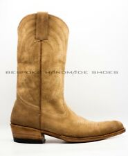 Handmade Men's Camel Suede Cowboy Boots Forefoot Stitching Western Hunter Boots