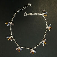 """ITALY Sterling Silver-Figaro Chain w/ Color Stone Ball Dangle Anklet- 9""""~11"""""""