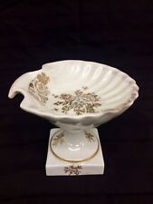 Antique Royal Limoges Footed Mini Shell Plate on a Pedestal Gold Trim