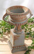 wunderschöne Vase mit Podest UVP 148€ Amphore Shabby antik Look grau NEU / OVP