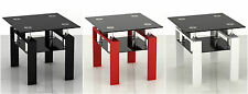 New Tempered Black Glass Cube Coffee/Side Table With Shelf
