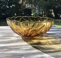 Antik Art Déco Pressglas Schale Bernstein gelb Amber Glas Obstschale Obstmuster