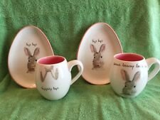 New Rae Dunn Magenta Easter Mugs and Plates set hip hop and some bunny loves me