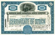 Mother Lode Coalition Mines Company - Stock Certificate (Blue)