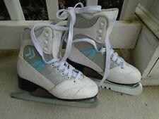 Women's Soft Cameo Figure Skating Ice Skates White Gray Blue Girls Size 5