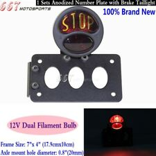 """Stop"" Side Mount Motorcycle Tail Light License Plate Bracket For Cafe Racer New"