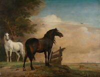 """high quality oil painting 100% handpainted on canvas """"two horses """""""