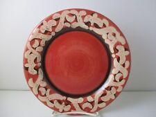 "VICKI CARROLL STUDIO SIL VOUS PLAIT SALAD PLATE -RED- 8 1/4"" -1210G"