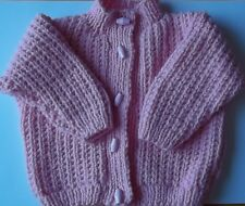 Hand Knitted Baby Girl's Pink Aran Chunky Cardigan, Size 3/6 Months