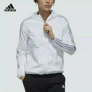 EUC ADIDAS women's white windbreaker full zip long sleeves jacket w/hood szS