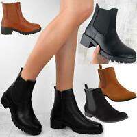 Womens Ankle Chelsea Boots Ladies Block Heels Low Flats Gusset Office Shoes Size