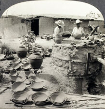Keystone Stereoview a Pottery Maker & his Kiln in Mexico From RARE 1200 Card Set
