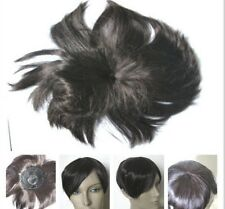 dark brown clip in fringe bangs hide bald grey hairpiece extension toupee
