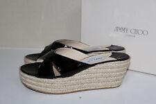 sz 11 / 41 Jimmy Choo Black Patent Leather Paisley Espadrille Wedge Sandal Shoe