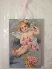 Vintage Child Angel & Roses Postcard Plaque Wall Decor Sign Shabby