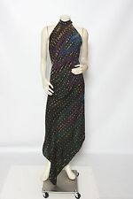CARTER TERI Shibori Purple Blue Tie Dye Silk Halter Hi Lo Dress - Size S M