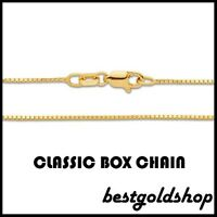 0.80mm 14K YELLOW GOLD Classic Square Box Chain Necklace with Lobster Claw Clasp