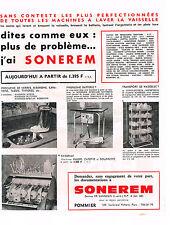 PUBLICITE ADVERTISING 1965 SONEREM machine à laver la vaisselle lave vaisselle