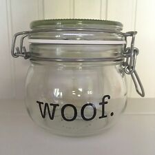American Typewriter WOOF Vinyl Decal Sticker - DIY Dog Treat Jar/Container Label
