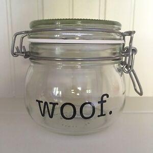 American Typewriter WOOF Vinyl Decal Sticker - DIY Dog Treat Jar/Container Label