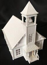 Miniature HO Scale Schoolhouse Train Model Assembled White