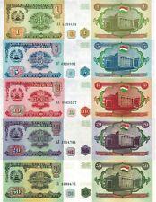 TAGIKISTAN - Tajikistan Lotto 5 banconote 1/5/10/20/50 Rubles FDS - UNC