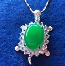 Emerald-Green Tortoise/ Turtle Pendant Necklace, Silver-toned Metal + Rhinestone