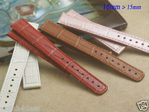 Genuine leather strap band 16mm x 15mm (FITS) Seiko Lukia Red White Brown Pink