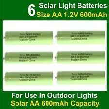 6 x AA Solar Light Batteries Rechargeable 1.2V 600mAh NiMH Replacements for NiCd