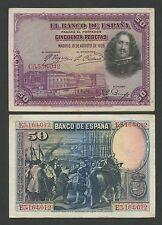 Spagna - 50 PESETAS 1928 P75 VF (banconote)