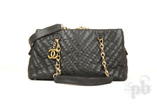Chanel Black Matte Chevron Leather Shopper Bag with Aged Brass Hardware