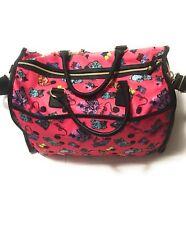 Betsey Johnson Large Weekender Duffel Travel Bag Fuchsia Pink Cats Luggage