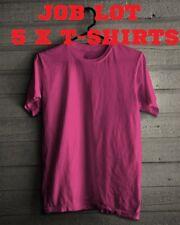5 Pack Plain Blank Cotton T-shirt Pink Small joblot wholesale job lot Tshirt