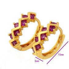 Solid Gold Filled Red Ruby Earrings Womens Hoop Earrings Cute Wave Design