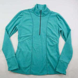 Athleta 1/4 Zip Pullover Athletic Lightweight Yoga Jacket Womens Large Teal Blue