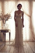 Vintage Beaded White Ivory Lace Beach Bridal Gown Wedding Dress Custom Size 4-26