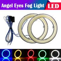2x 60mm/70mm/80mm/90mm/100mm/110mm Car COB LED Angel Eyes Halo Ring Fog Light