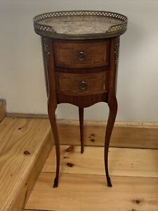 Signed Grosfeld House Louis XV Marble Top Inlaid Side Table Stand 3 Leg France
