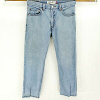 Levi's 505 Straight Leg 33x30 Regular Fit Heavy Light Wash Denim Blue Jeans Work