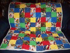 "Handmade Baby Girl Crib Quilt, Colorful Birds - Parrots, Songbirds+, 40"" x 46"""