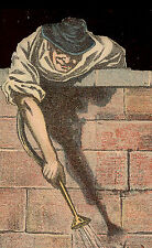 PHENIX INS CO, of BROOKLYN, DIE CUT TRADE CARD, A MAN HANGING OVER A WALL  TC590