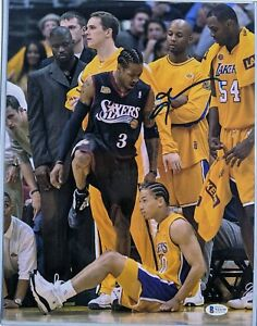 """Allen Iverson Signed 11x14 Photo """"Step Over"""" Beckett Witnessed COA Authentic"""